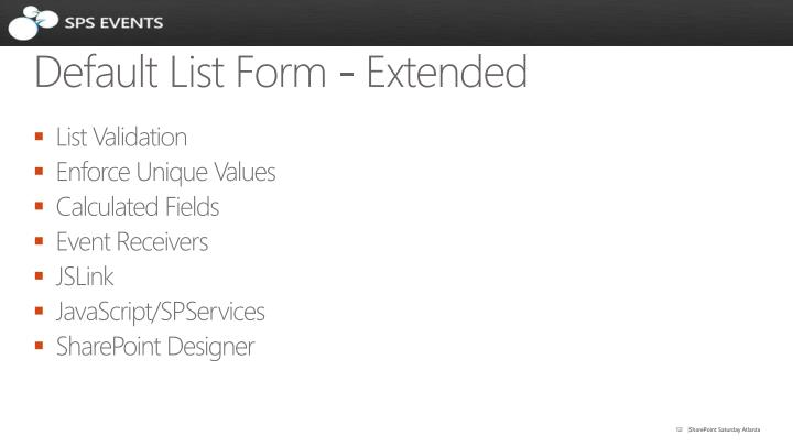Default List Form - Extended