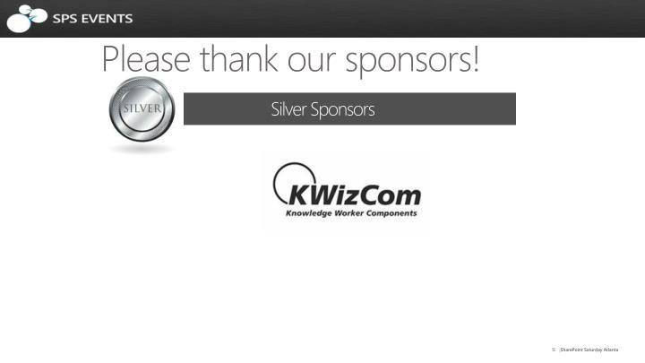 Please thank our sponsors!