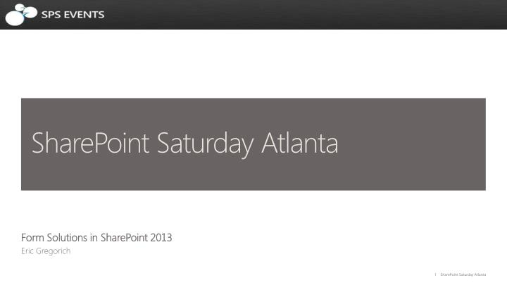 Sharepoint saturday atlanta