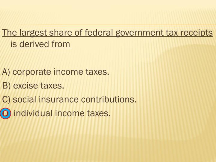 The largest share of federal government tax receipts is derived from