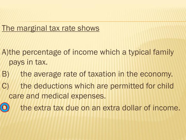 The marginal tax rate shows