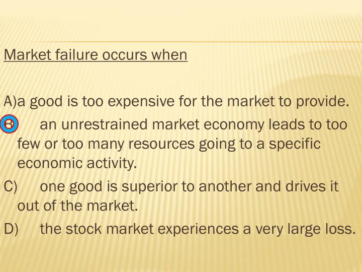 Market failure occurs when