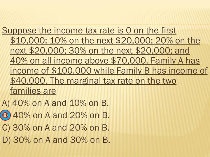 Suppose the income tax rate is 0 on the first $10,000; 10% on the next $20,000; 20% on the next $20,000; 30% on the next $20,000; and 40% on all income above $70,000. Family A has income of $100,000 while Family B has income of $40,000. The marginal tax rate on the two families are
