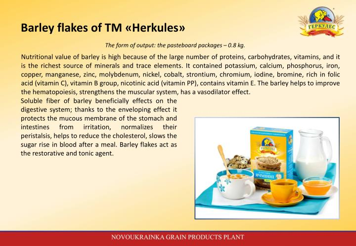Barley flakes of TM