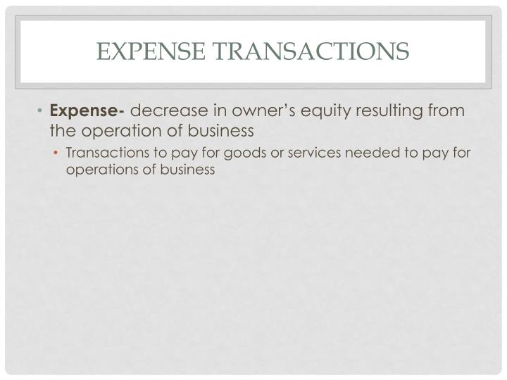 Expense Transactions