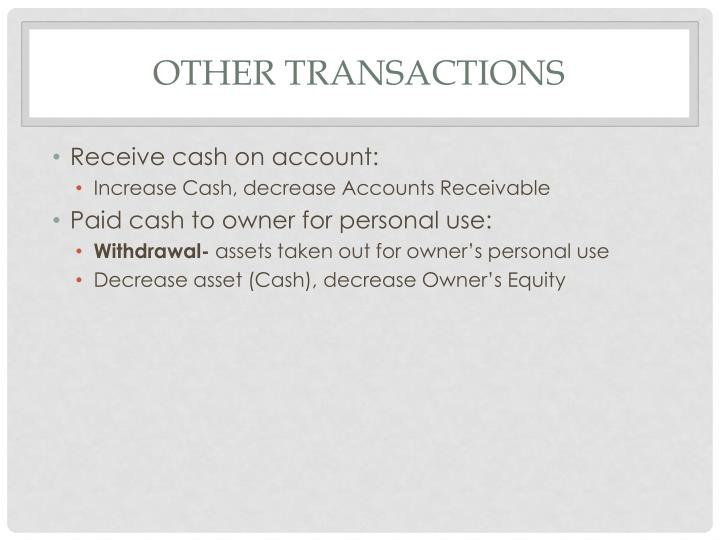 Other Transactions