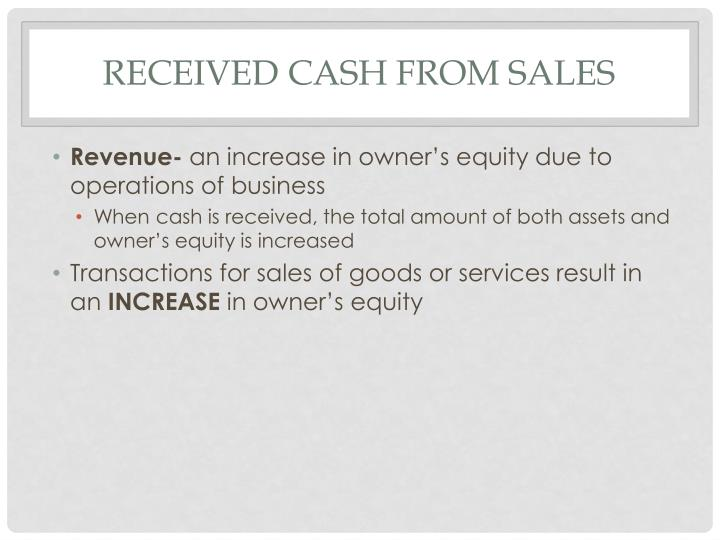 Received Cash from Sales
