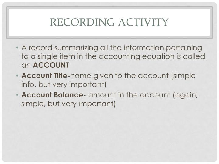 Recording Activity