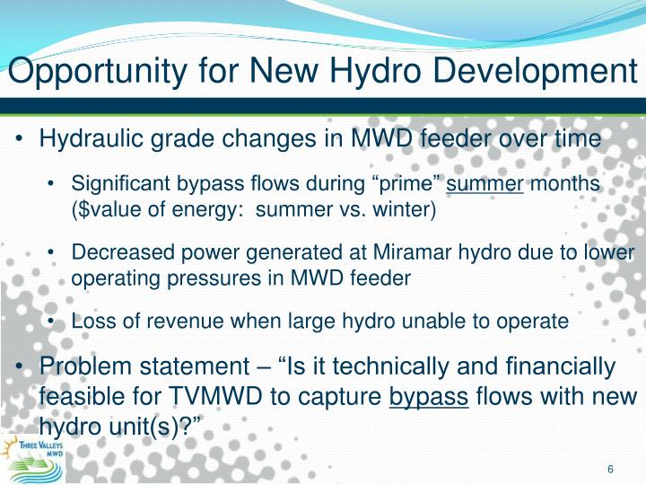 Opportunity for New Hydro Development