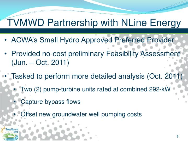 TVMWD Partnership with NLine Energy