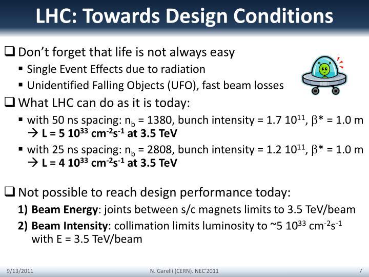 LHC: Towards Design Conditions