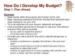 how do i develop my budget step 1 plan ahead