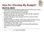 how do i develop my budget2