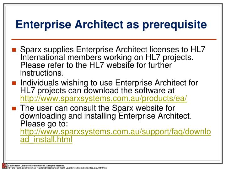 Enterprise Architect as prerequisite