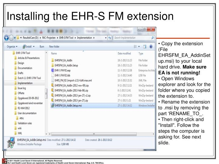 Installing the EHR-S FM extension