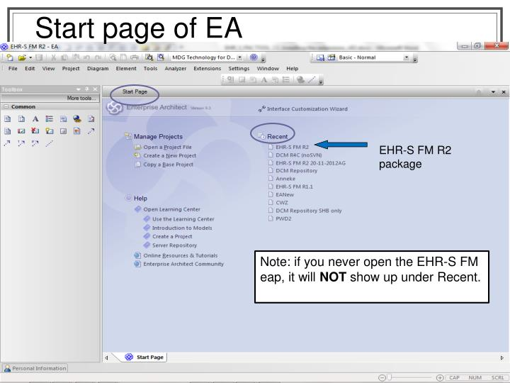 Start page of EA