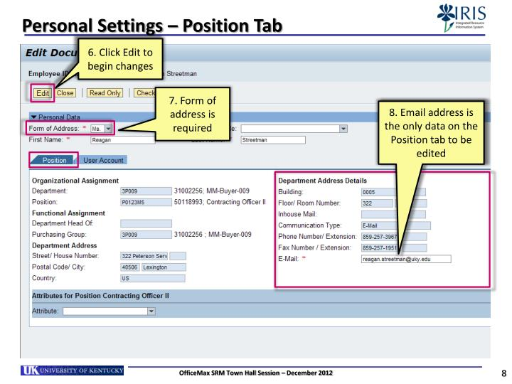 Personal Settings – Position Tab