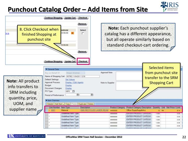 Punchout Catalog Order – Add Items from Site