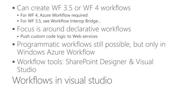 Workflows in visual studio
