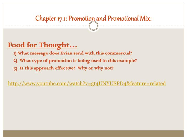Chapter 17.1: Promotion and Promotional Mix: