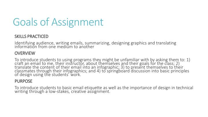 Goals of Assignment
