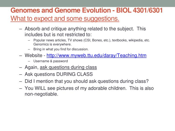 Genomes and genome evolution biol 4301 6301 what to expect and some suggestions1