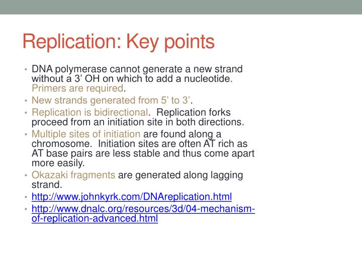 Replication: Key points