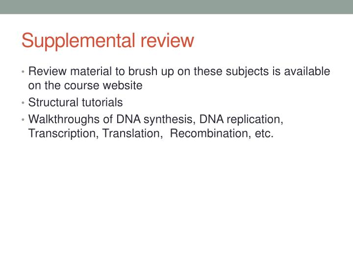 Supplemental review