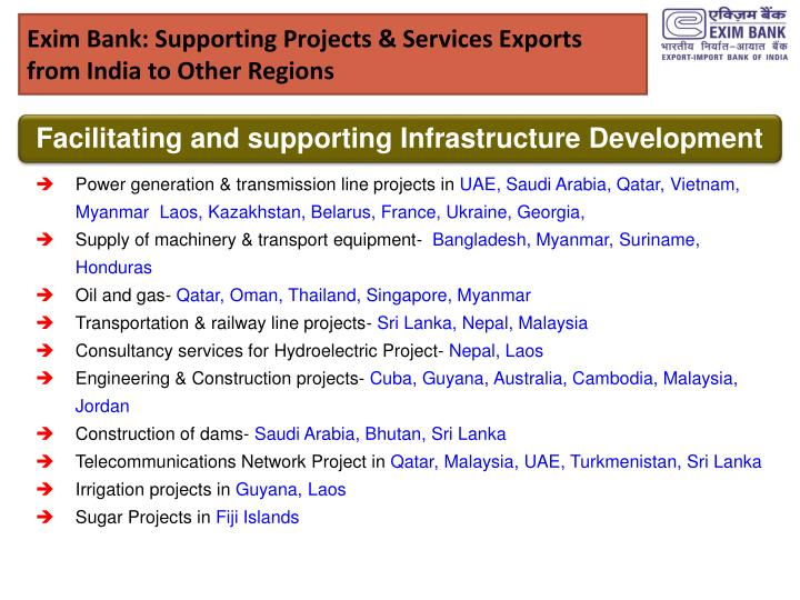 Exim Bank: Supporting Projects & Services Exports from India to Other Regions