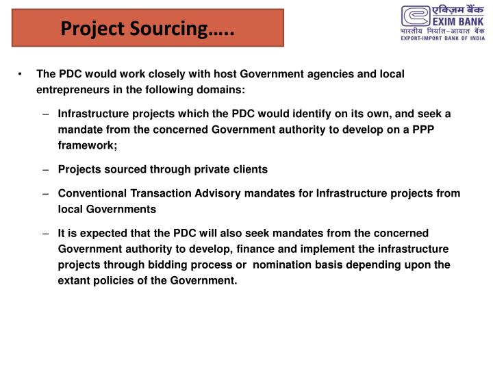 Project Sourcing…..