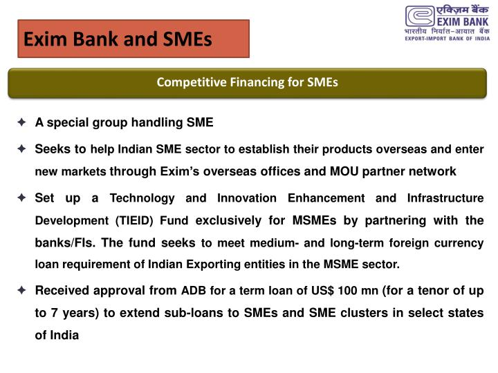 Exim Bank and SMEs