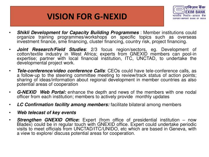 VISION FOR G-NEXID
