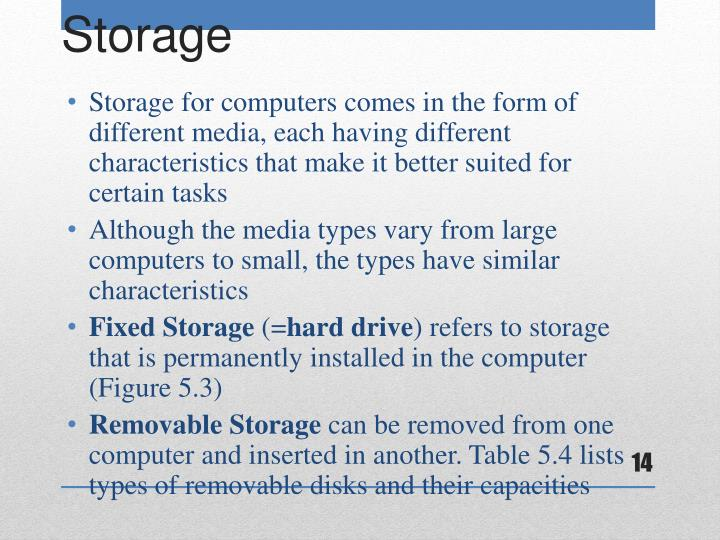 Storage for computers comes in the form of different media, each having different characteristics that make it better suited for certain tasks