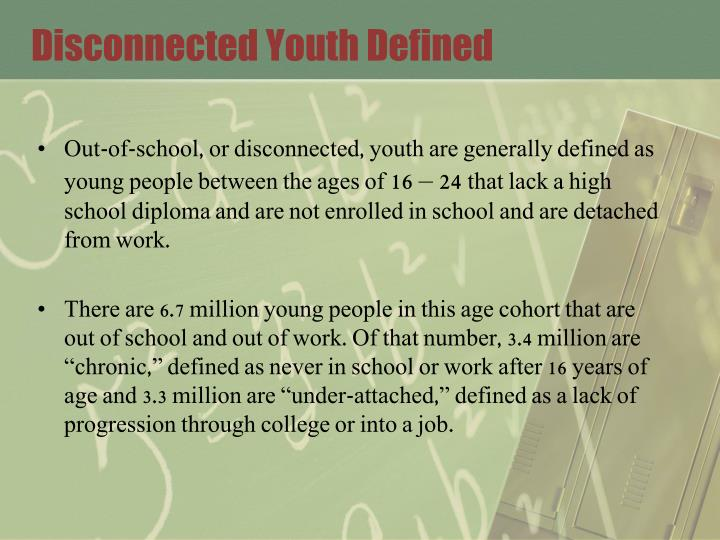 Disconnected youth defined