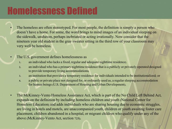 Homelessness defined