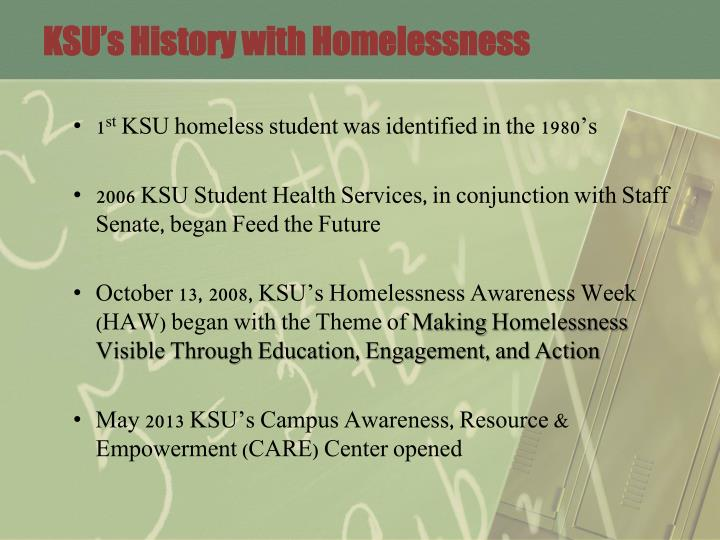KSU's History with Homelessness