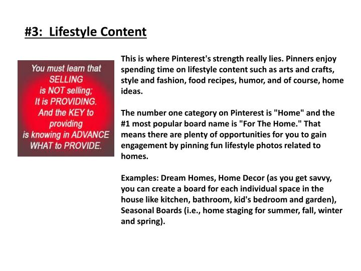 #3:  Lifestyle Content