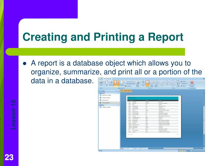 A report is a database object which allows you to organize, summarize, and print all or a portion of the data in a database.