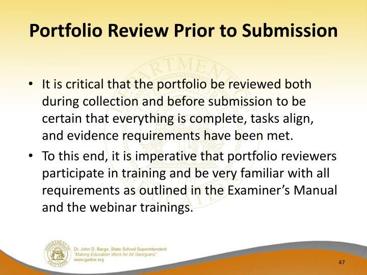 Portfolio Review Prior to Submission