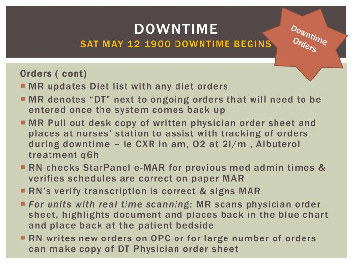 Downtime Orders