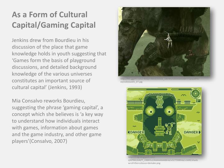 As a Form of Cultural Capital/Gaming Capital