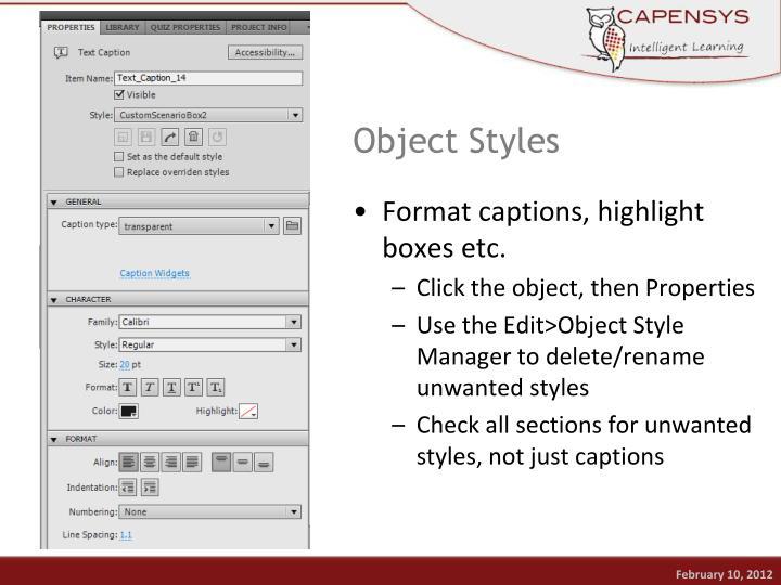 Object Styles