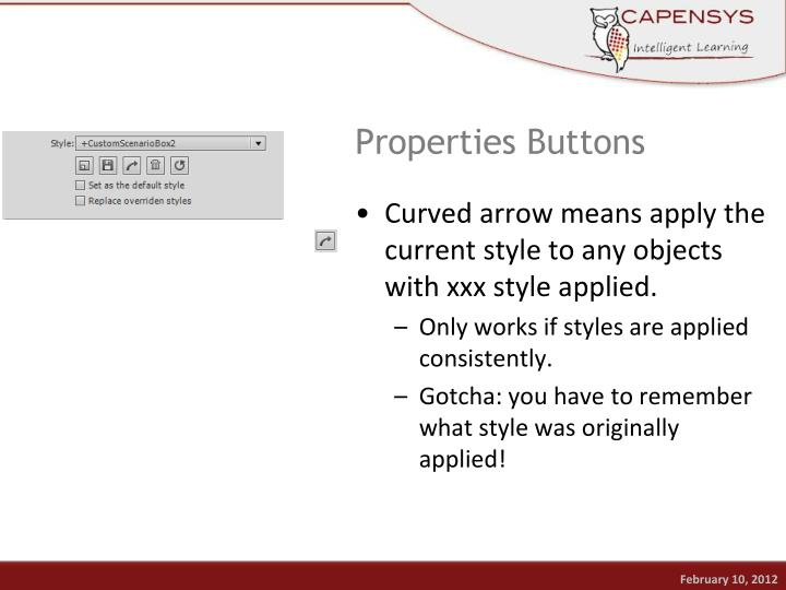 Properties Buttons