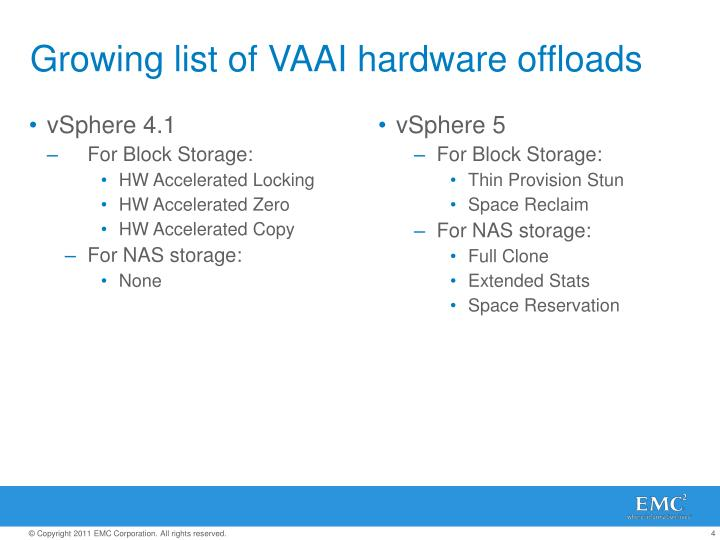 Growing list of VAAI hardware offloads