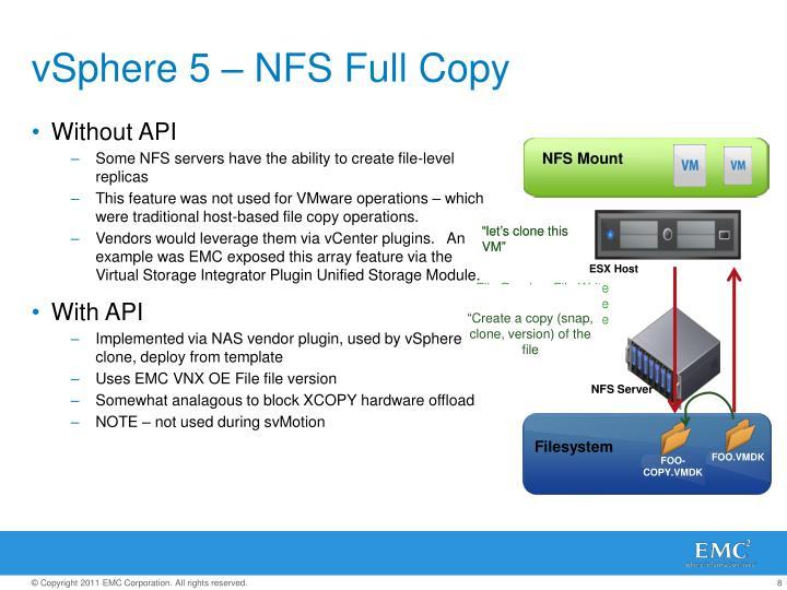 vSphere 5 – NFS Full Copy