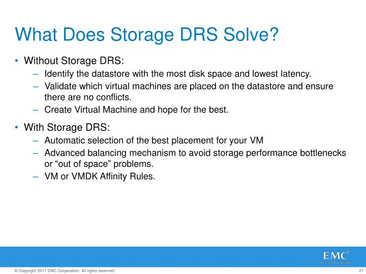 What Does Storage DRS Solve?