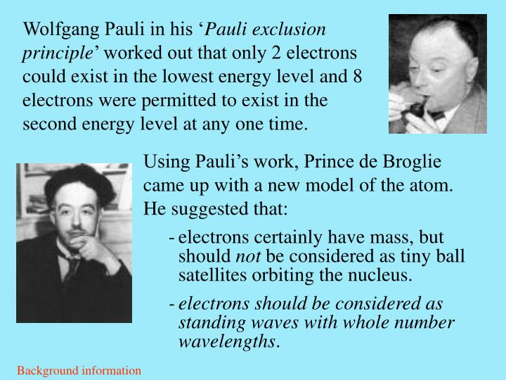 Using Pauli's work, Prince de Broglie came up with a new model of the atom. He suggested that: