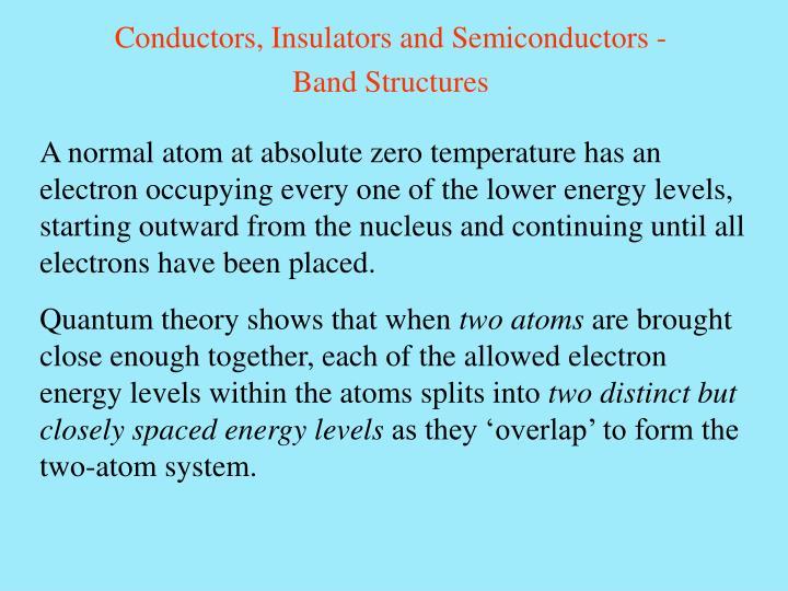 Conductors, Insulators and Semiconductors -