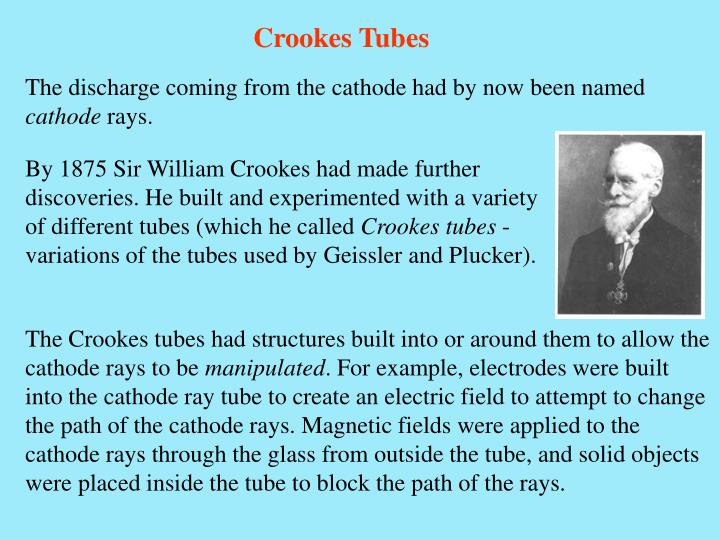 By 1875 Sir William Crookes had made further discoveries. He built and experimented with a variety of different tubes (which he called