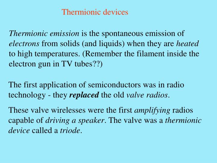 Thermionic devices